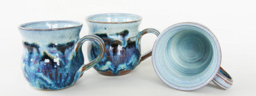 3 pottery mugs